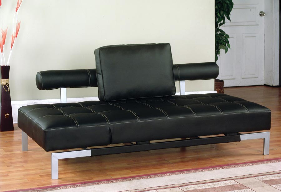 Iris Futon Sofa Bed / Lounger In Brown Or Black Faux Leather